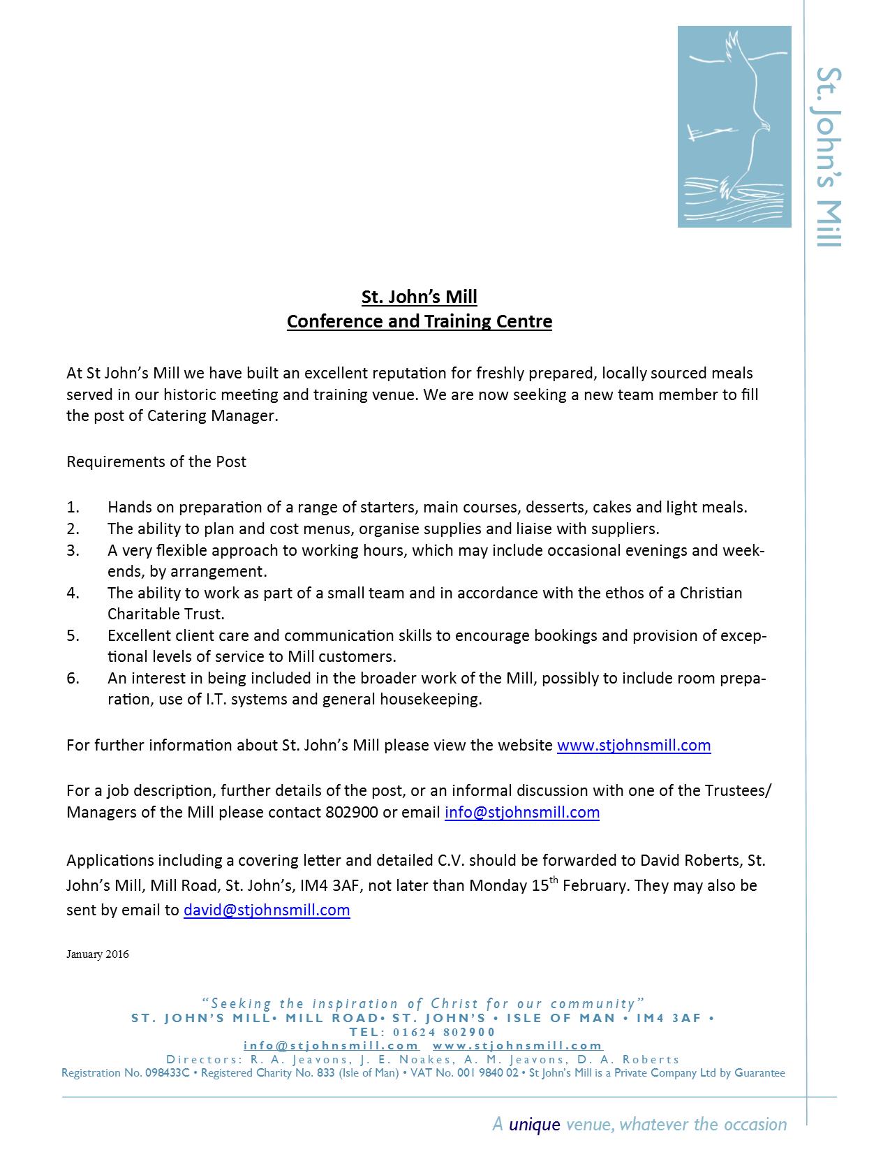 St. John's Mill - Job Vacancy